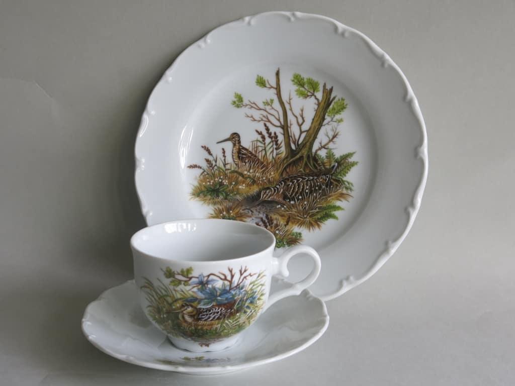 Jagdmotiv Schnepfe Porzellan dreiteiliges Teegedeck Ofelie