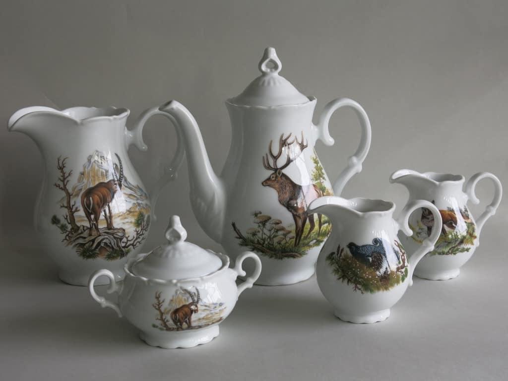 Kaffeekanne Krug Milchgießer Zuckerdose Ofelie Jagdmotive